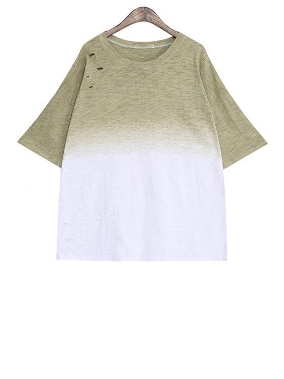 shop Ombre Color Short Sleeve T-Shirt - KHAKI ONE SIZE(FIT SIZE XS TO M)