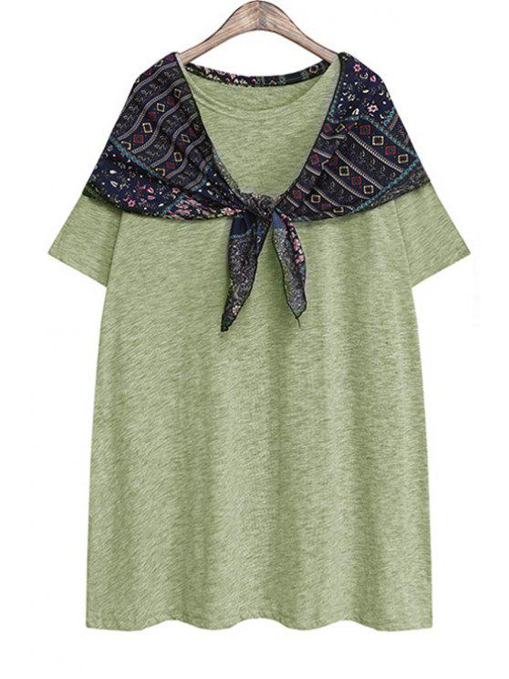 trendy Short Sleeves Print Spliced T-Shirt - GREEN ONE SIZE(FIT SIZE XS TO M)