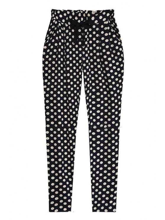 unique Polka Dot Elastic Waisted Drawstring Pants - BLACK ONE SIZE(FIT SIZE XS TO M)