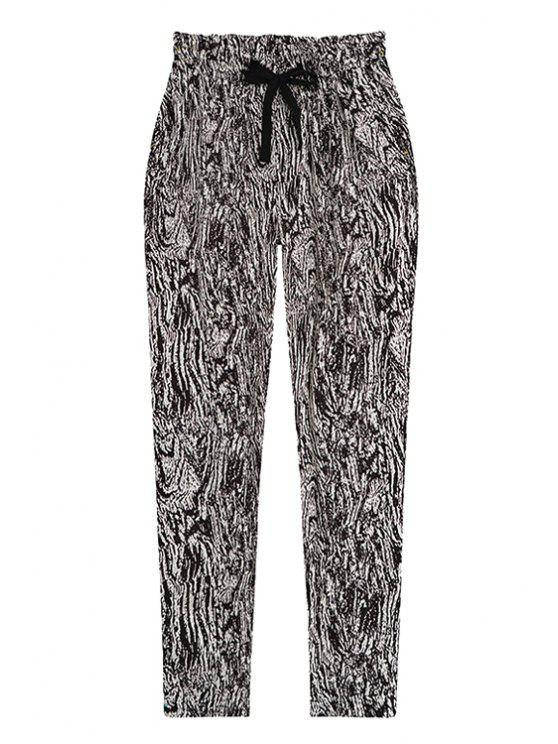 sale Black Print Elastic Waisted Drawstring Pants - BLACK ONE SIZE(FIT SIZE XS TO M)