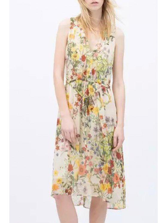 ladies V-Neck Floral Printed Tie-Up Sleeveless Dress - YELLOW M