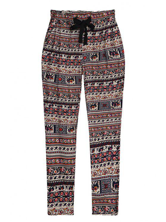 buy Drawstring Red Vintage Print Pants - RED ONE SIZE(FIT SIZE XS TO M)