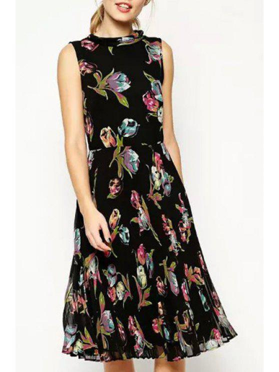 online Round Neck Floral Print Sleeveless Pleated Dress - BLACK S