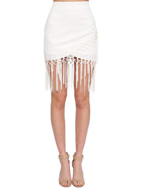 4184d6b04 30% OFF] 2019 White High Waisted Bodycon Skirt In WHITE | ZAFUL
