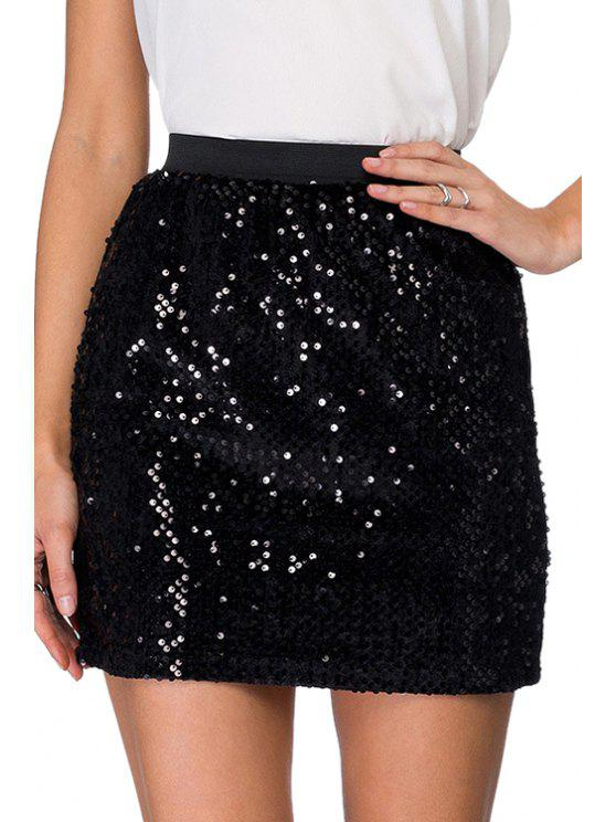 shop Sequins High Waisted Bodycon Skirt - BLACK XS