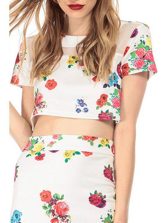 chic Flower Print Short Sleeve Crop Top - WHITE XS