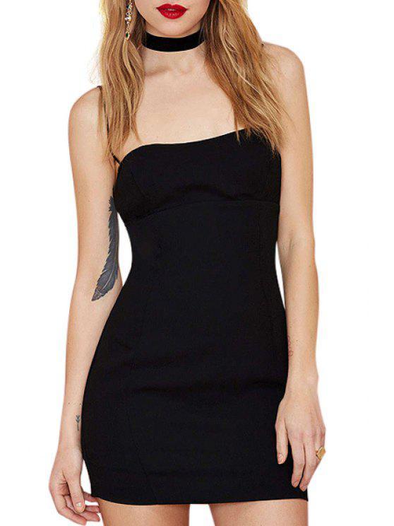 lady Black Spaghetti Strap Bodycon Dress - BLACK XS