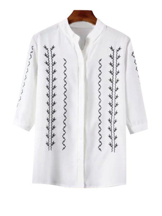 affordable Stand-Up Collar Ruffled Embroidered White Shirt - WHITE S