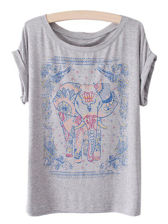 women Jewel Neck Elephant Print Short Sleeve T-Shirt - GRAY ONE SIZE(FIT SIZE XS TO M)