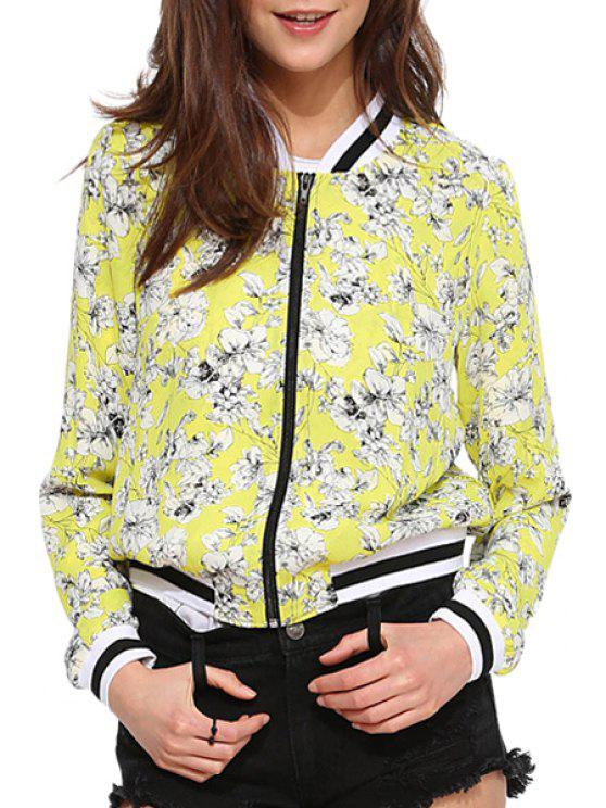 shops Full Flower Print Stand Neck Jacket - YELLOW XS