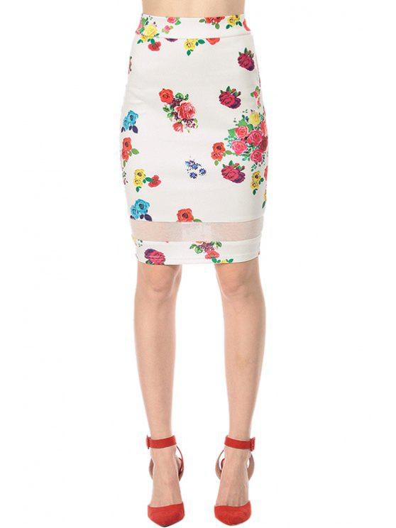 sale Colored Floral Bodycon Skirt - WHITE S