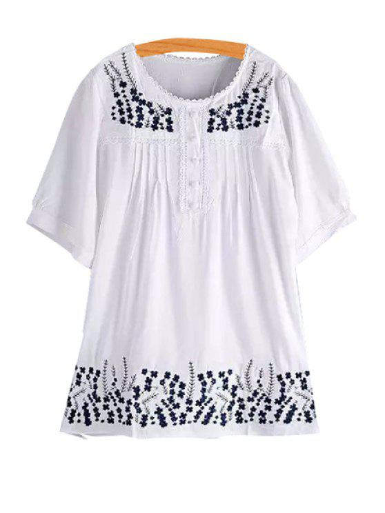 fancy Embroidered Botton Design White Dress - WHITE ONE SIZE(FIT SIZE XS TO M)
