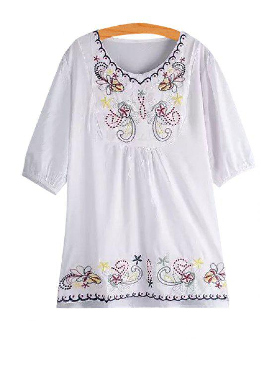 ladies Floral Embroidery Plus Size White Blouse - WHITE ONE SIZE(FIT SIZE XS TO M)