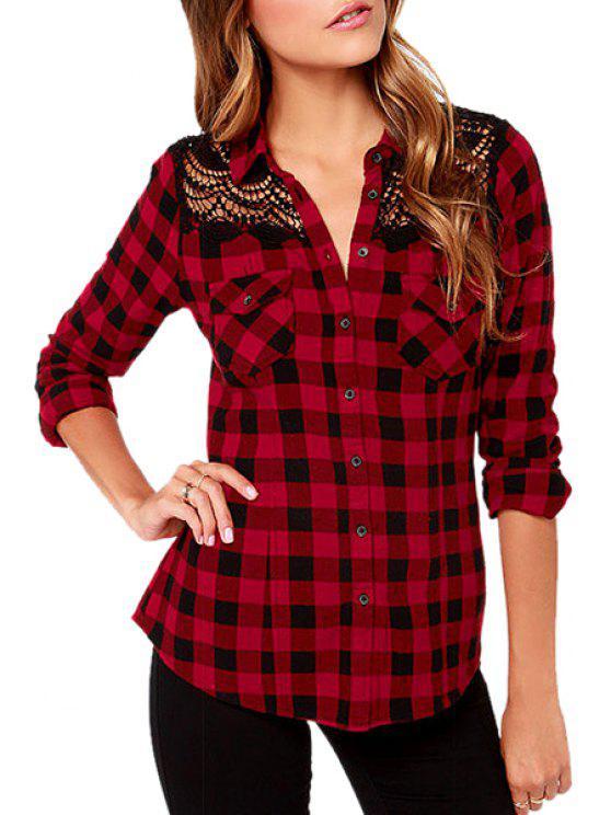 shop Red Plaid Print Long Sleeve Shirt - CHECKED XS