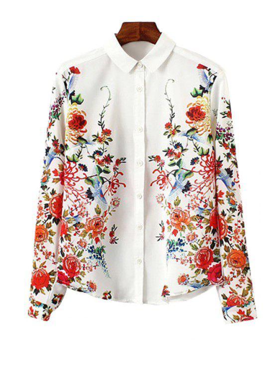 new Shirt Collar Long Sleeve Flower Print Single-Breasted Shirt - WHITE M