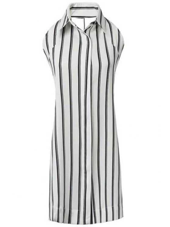 fashion Polo Collar Backless Tie Knot Stripe Dress - WHITE AND BLACK S