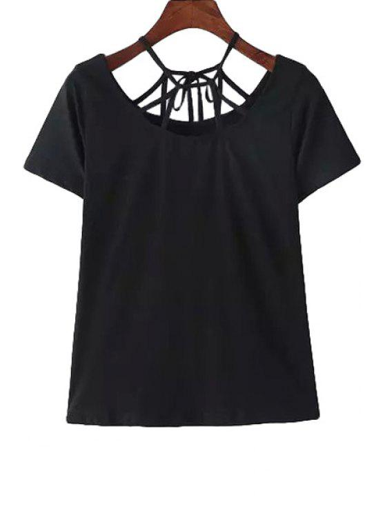 best Spaghetti Strap Tie-Up Solid Color T-Shirt - BLACK S
