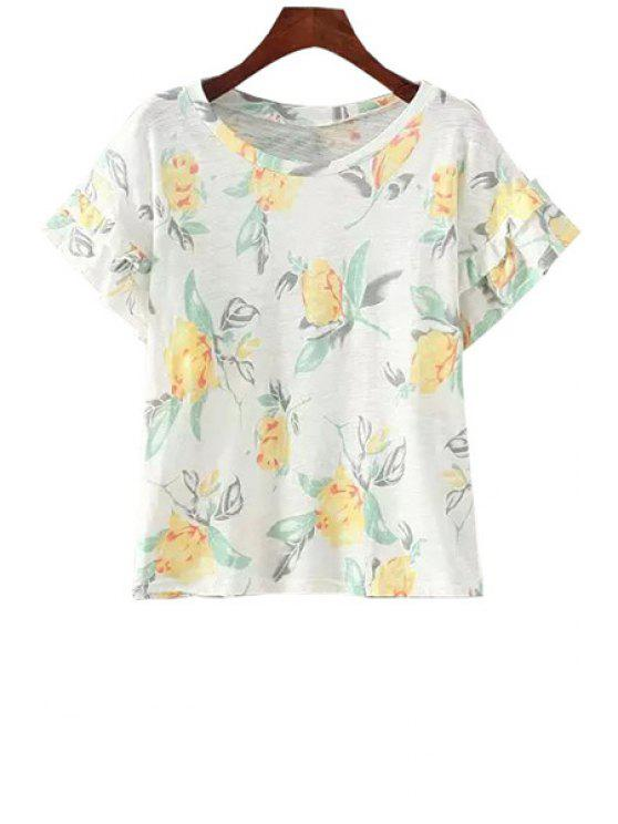 sale Floral Print Flounce Short Sleeve T-Shirt - WHITE ONE SIZE(FIT SIZE XS TO M)