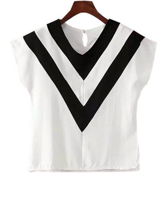 buy Black Stripe Splicing Short Sleeve T-Shirt - WHITE S