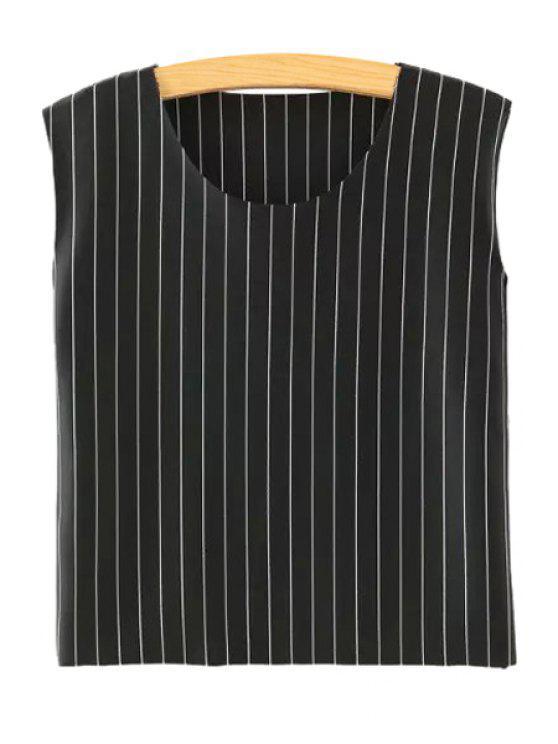 new Stripe Jewel Neck Tank Top - BLACK S
