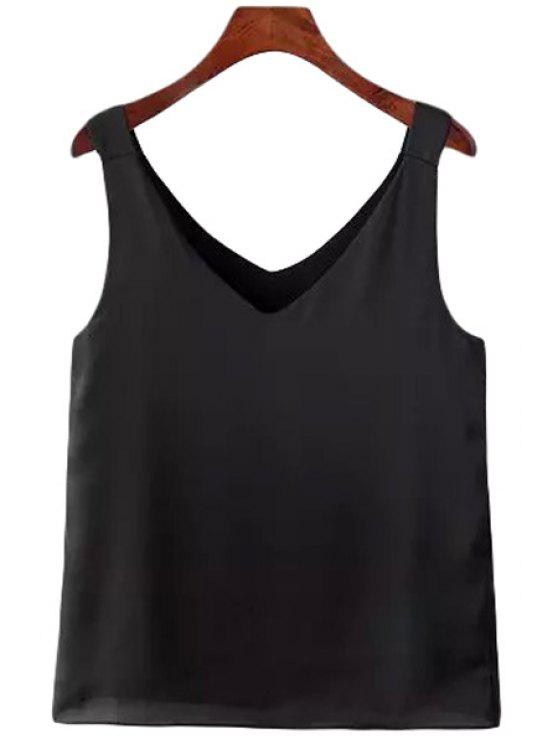 hot Solid Color V-Neck Sleeveless Tank Top - BLACK S