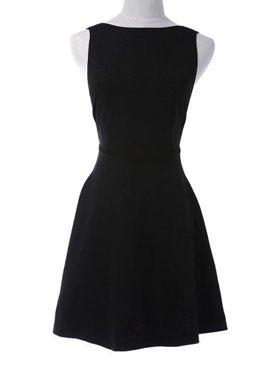 buy Solid Color Open Back Reversible A-Line Dress - BLACK XS