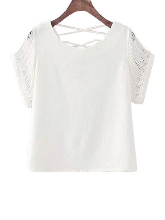 lady Backless Cross Fringe Short Sleeve T-Shirt - WHITE ONE SIZE(FIT SIZE XS TO M)