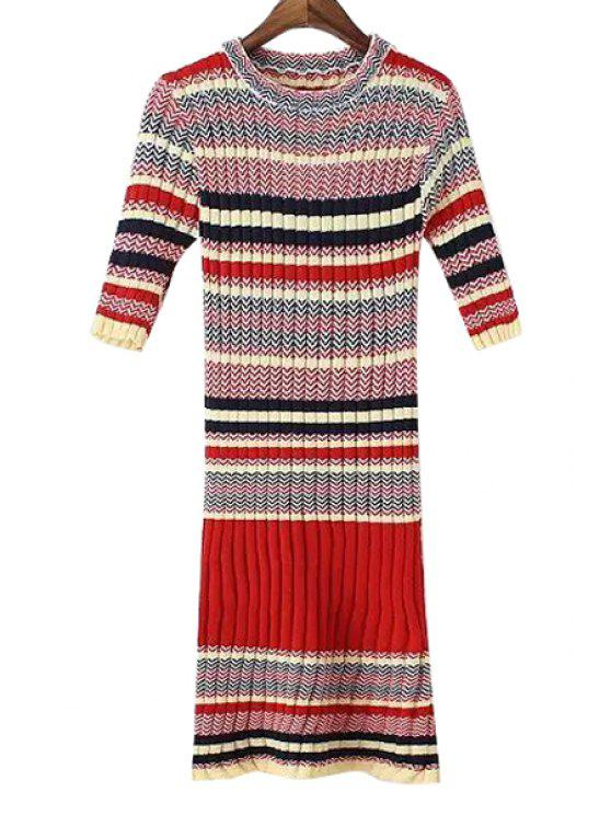 f576e47339e lady Short Sleeve Striped Knitted Sweater Dress - RED ONE SIZE(FIT SIZE XS  TO