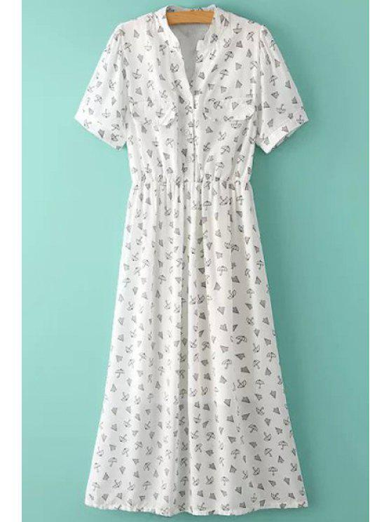 affordable Umbrella Print Short Sleeve Dress - WHITE M