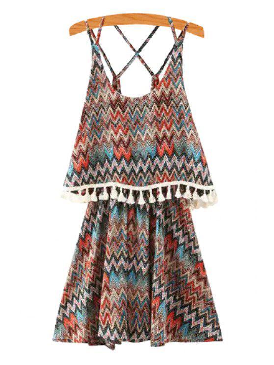 lady Spaghetti Strap Chevron Stripes Criss-Cross Layered Dress - COLORMIX S