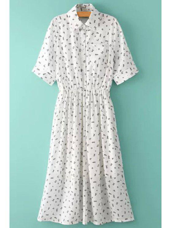 womens Print Shirt Neck Short Sleeve Dress - WHITE M