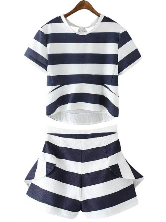 womens Stripe Tie-Up T-Shirt + Flounce Splicing Shorts - BLUE AND WHITE XS
