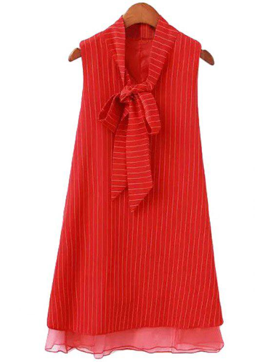 womens Stripe Multi-Layered Tie Knot Sleeveless Dress - RED S
