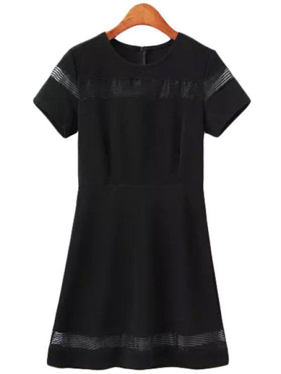 online Solid Color Stripe Short Sleeve Dress - BLACK M