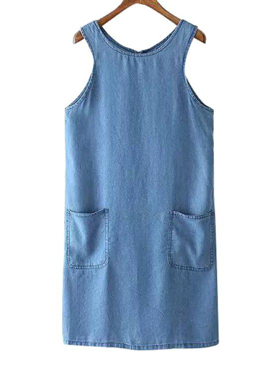 unique Round Neck Sleeveless Pocket Design Denim Dress - BLUE S