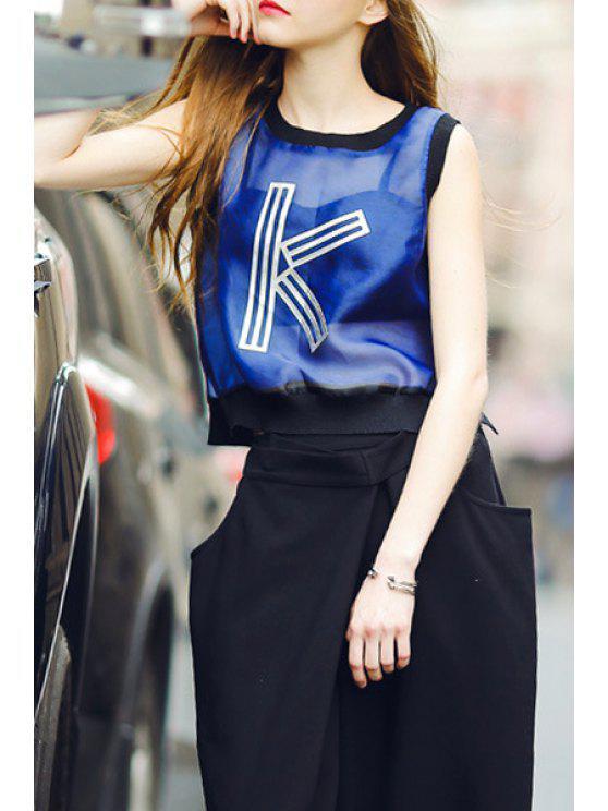 fashion See-Through Letter Print Sleeveless Tank Top - BLUE S
