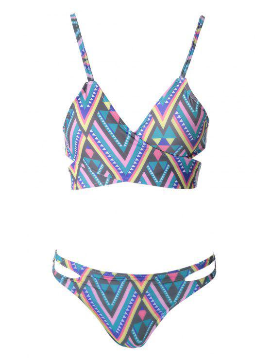 womens Spaghetti Straps Criss-Cross Bikini Set - COLORMIX S