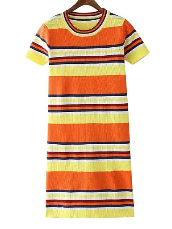 1e166d27abfc online Striped Color Block Sweater Dress - ORANGE ONE SIZE(FIT SIZE XS TO M