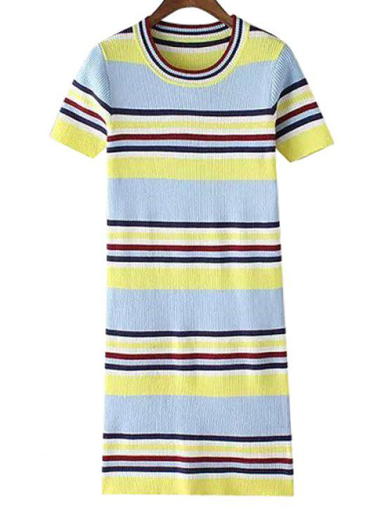 hot Striped Color Block Sweater Dress - YELLOW ONE SIZE(FIT SIZE XS TO M)