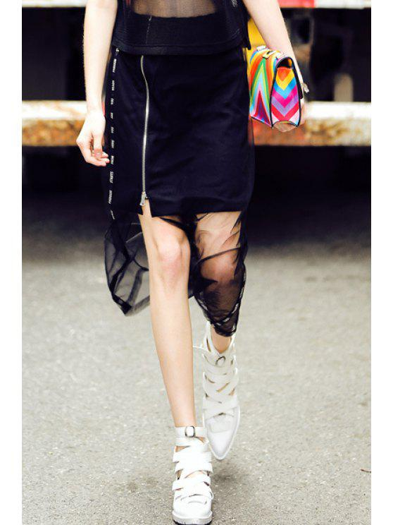 chic Voile Splicing Letter Slit Zipper Long Skirt - BLACK S
