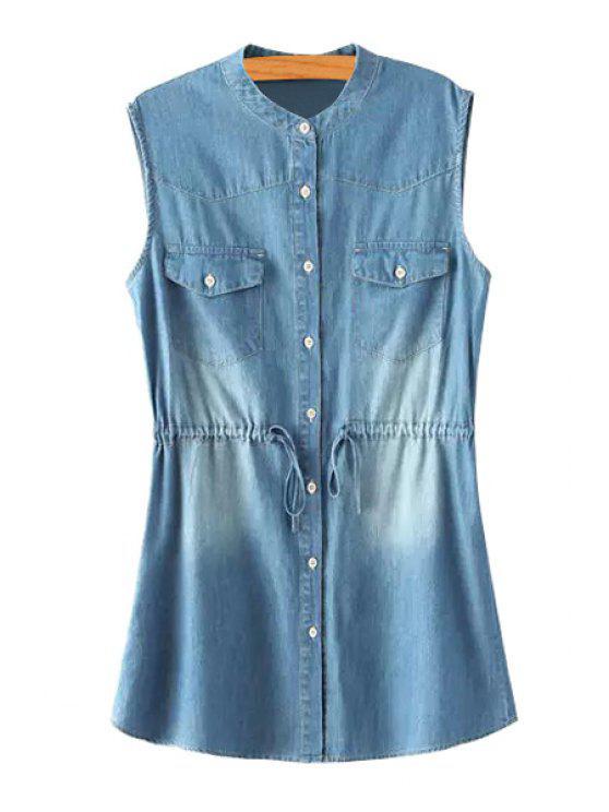 buy Single-Breasted Drawstring Design Denim Dress - BLUE S
