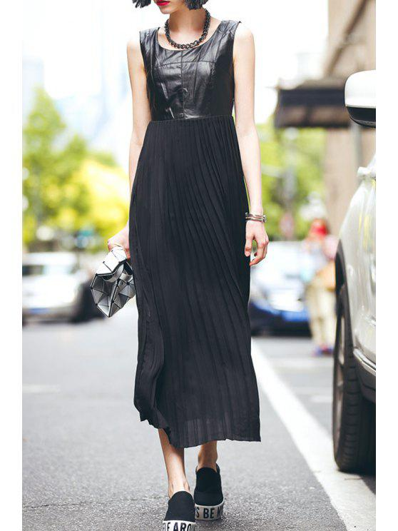 women's PU Leather Splicing Sleeveless Pleated Dress - BLACK S