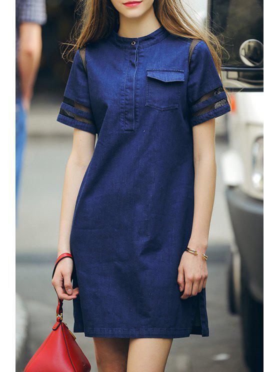 women Round Neck Bleach Wash Voile Splicing Dress - BLUE S