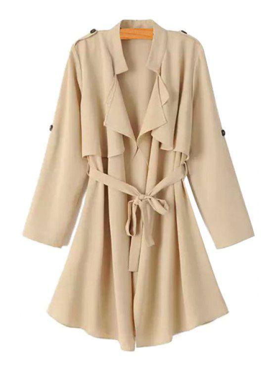 shops Long Sleeve Flouncing Tie-Up Chiffon Trench Coat - KHAKI S
