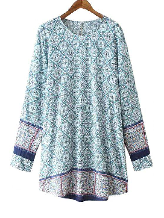 women's Ethnic Pattern Keyhole Design Dress - COLORMIX S