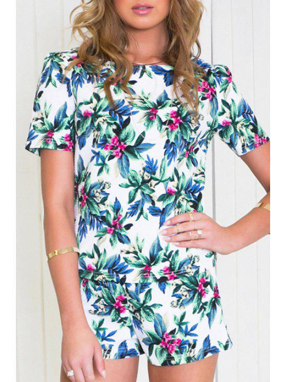 outfits Floral Leaves Print Short Sleeve T-Shirt + Shorts - COLORMIX XL