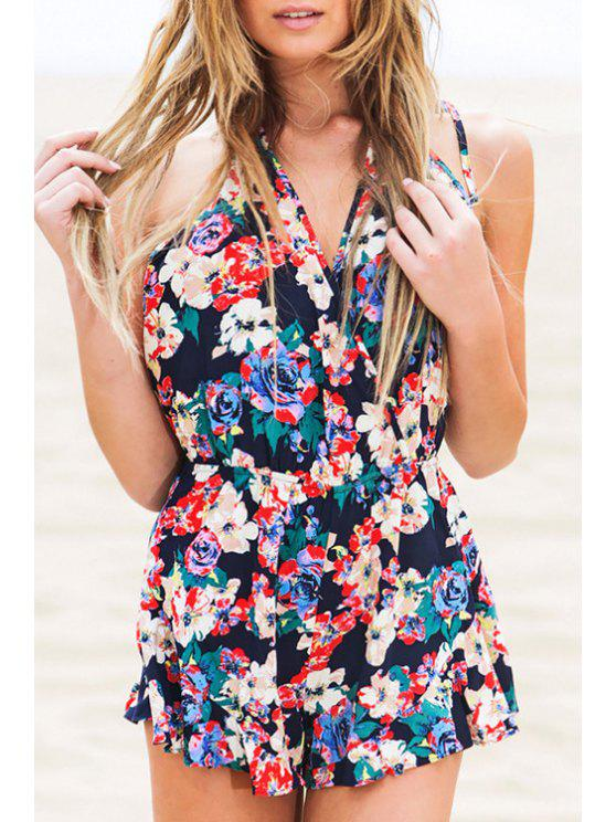 lady Halter Neck Floral Print Backless Sleeveless Romper - COLORMIX S