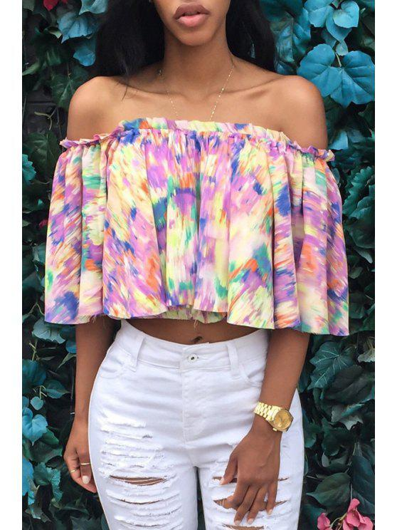 sale Slash Neck Tie Dye Backless Half Sleeve T-Shirt - COLORMIX S