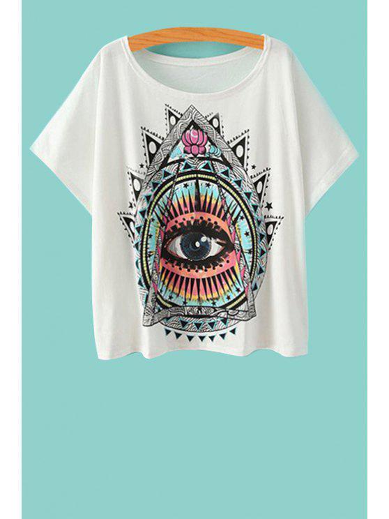 shop Eye Print Scoop Neck Short Sleeve T-Shirt - WHITE M