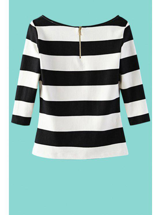 trendy Stripes Scoop Neck 3/4 Sleeve T-Shirt - STRIPE M